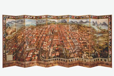 View 2. Thumbnail of Lot 1. ANONYMOUS, MEXICAN SCHOOL (17TH CENTURY) | BIOMBO DE LA CONQUISTA DE MÉXICO Y VISTA DE LA CIUDAD DE MÉXICO.