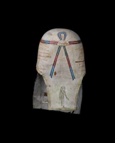 View 2. Thumbnail of Lot 35. An Egyptian Polychrome and Gilt Cartonnage Mummy Mask, late Ptolemaic Period, circa 100-30 B.C..