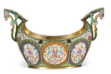 View 2. Thumbnail of Lot 194. A silver-gilt and cloisonné enamel two-handled bowl, Orest Kurlyukov, Moscow, 1908-1917.