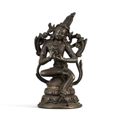 View 1. Thumbnail of Lot 113. A silver-inlaid copper alloy figure of Avalokiteshvara Pala, Eastern India, 12th century   十二世紀 帕拉東印度銅錯銀觀世音菩薩坐像.