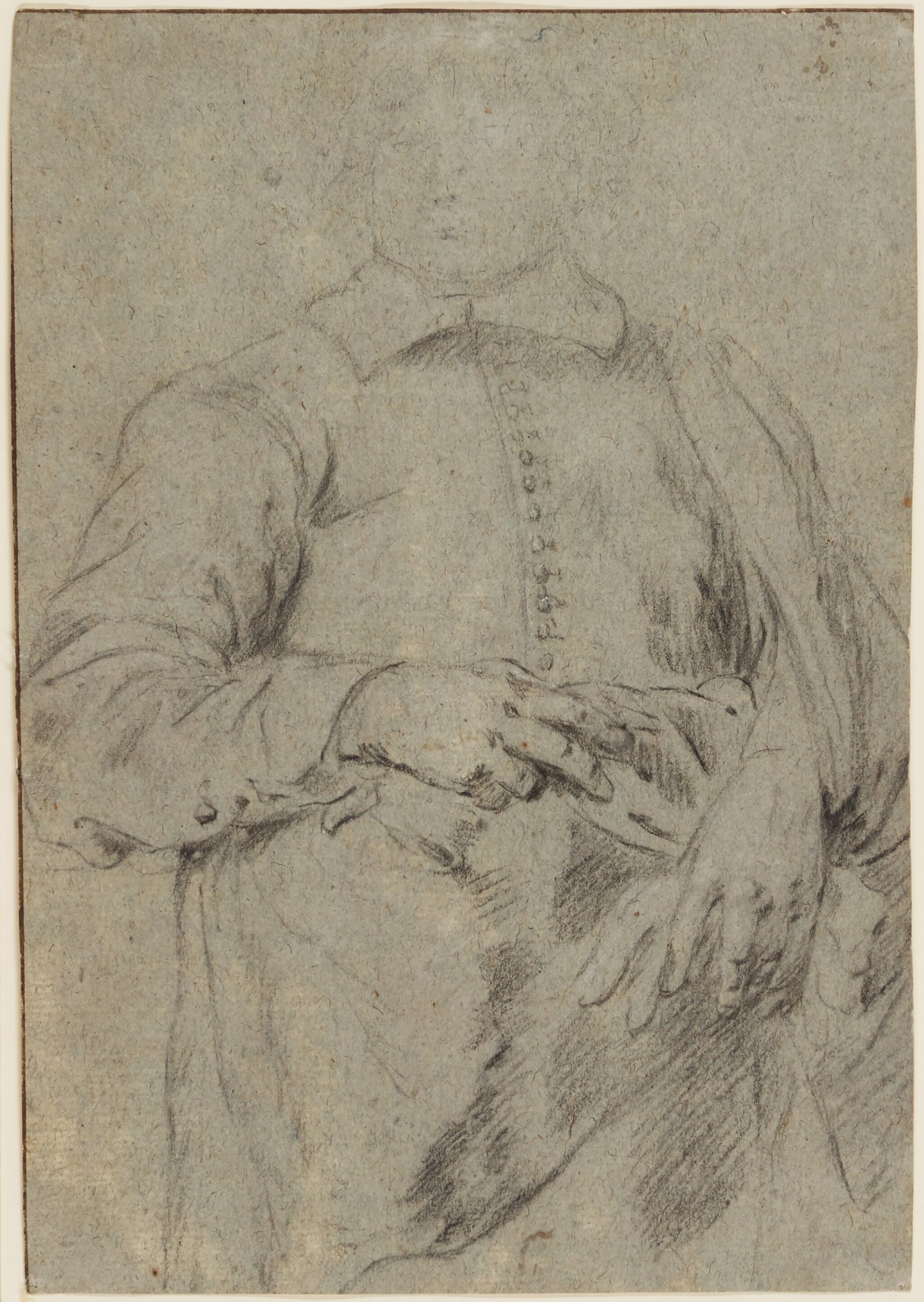 View full screen - View 1 of Lot 570. ATTRIBUTED TO SIR ANTHONY VAN DYCK | Study for a Portrait of a Standing Man.
