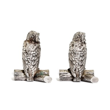 View 3. Thumbnail of Lot 33. A pair of Victorian silver owl pepperettes , George Heath & Co., London, 1891.