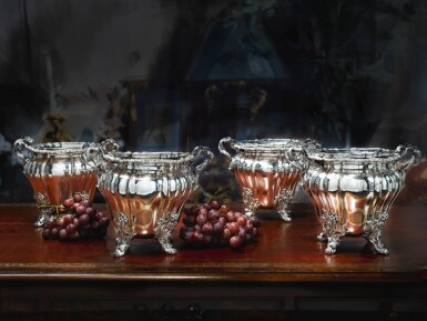 View 2. Thumbnail of Lot 13. A SET OF FOUR GEORGE IV SILVER WINE COOLERS, ROBERT GARRARD & BROTHERS, LONDON, 1827.
