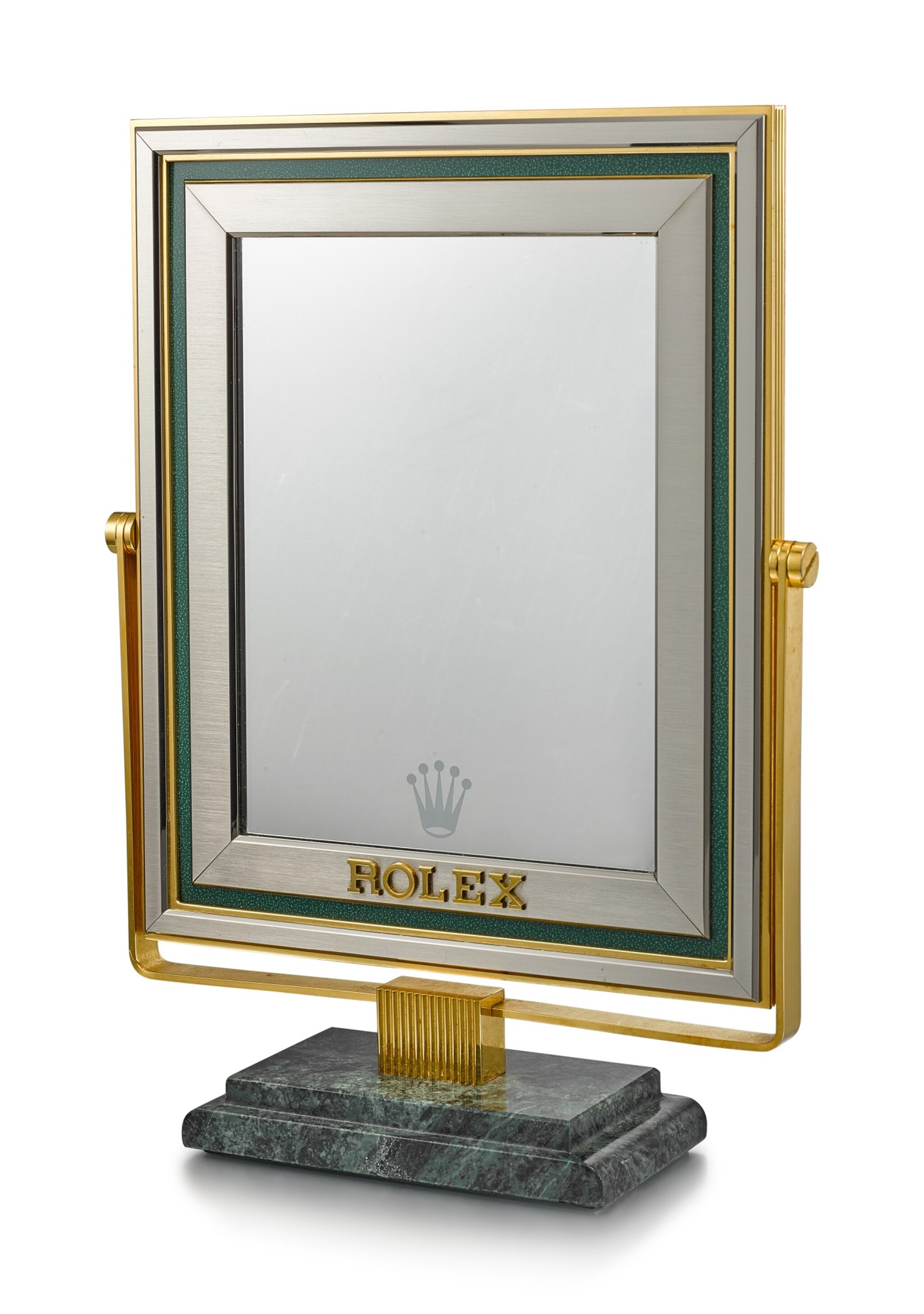 View full screen - View 1 of Lot 8138. ROLEX   A RETAILER'S DISPLAY MIRROR WITH MARBLE STAND, CIRCA 1980.
