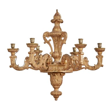 View 1. Thumbnail of Lot 182. A LOUIS XIV CARVED GILTWOOD SIX-LIGHT CHANDELIER, CIRCA 1700.