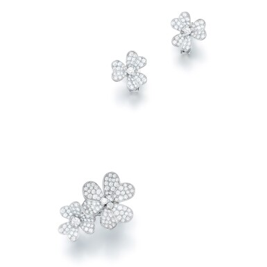 VAN CLEEF & ARPELS | 'FRIVOLE' DIAMOND DEMI PARURE  梵克雅寶 | 'Frivole' 鑽石戒指及耳環套裝
