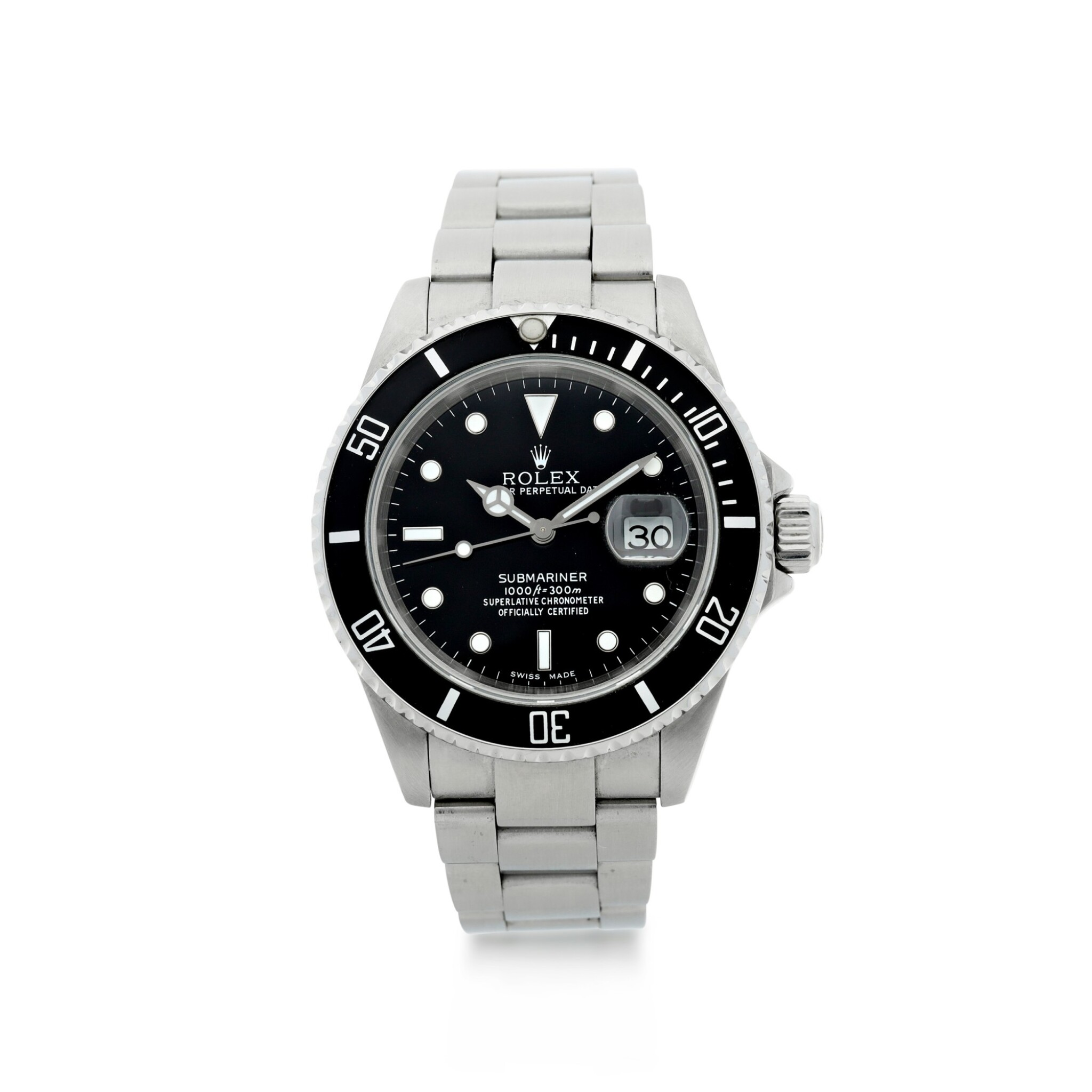 View 1 of Lot 304. ROLEX | REFERENCE 16610 SUBMARINER  A STAINLESS STEEL AUTOMATIC WRISTWATCH WITH DATE AND BRACELET, CIRCA 2002.