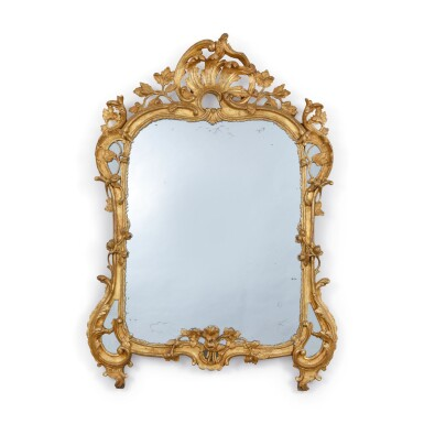View 1. Thumbnail of Lot 722.  A LOUIS XV GILTWOOD MIRROR, MID-18TH CENTURY.
