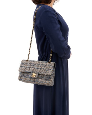View 5. Thumbnail of Lot 110. Denim and wool tweed with silver-tone metal classic shoulder bag.