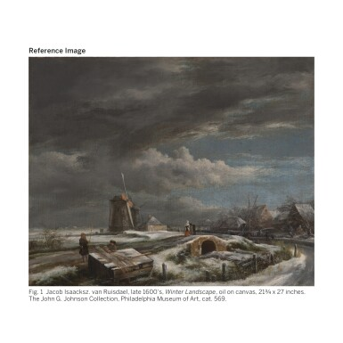 View 2. Thumbnail of Lot 117. JOHN CONSTABLE, R.A. | A WINTER LANDSCAPE WITH WITH FIGURES ON A PATH, A FOOTBRIDGE AND WINDMILLS BEYOND (AFTER JACOB VAN RUISDAEL).