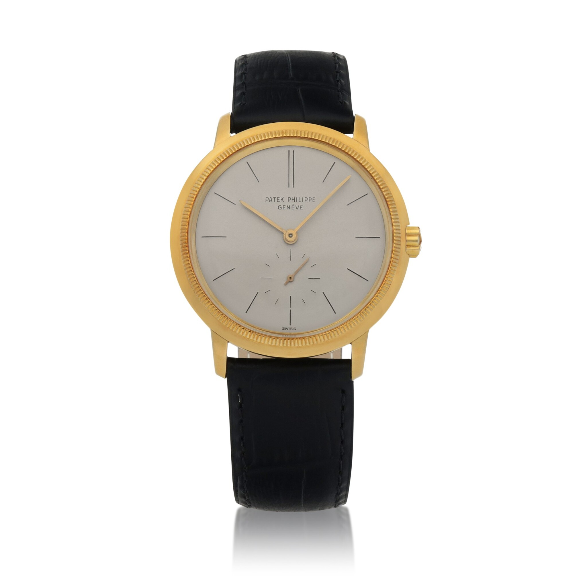View full screen - View 1 of Lot 87. Ref. 3454 Yellow gold wristwatch with 'reeded' bezel Made in 1962 | 百達翡麗 3454型號黃金腕錶,1962年製.