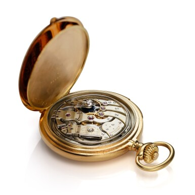 View 5. Thumbnail of Lot 98. Retailed By Spaulding & Co.: A yellow gold minute repeating hunting cased watch, Made in 1903.