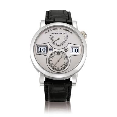 View 1. Thumbnail of Lot 2021. A. Lange & Söhne | Zeitwerk, Reference 140.025, A limited edition platinum wristwatch with digital time display and power reserve indication, Circa 2009 | 朗格 | Zeitwerk 型號140.025 限量版鉑金腕錶,備跳字及動力儲備顯示,約2009年製.