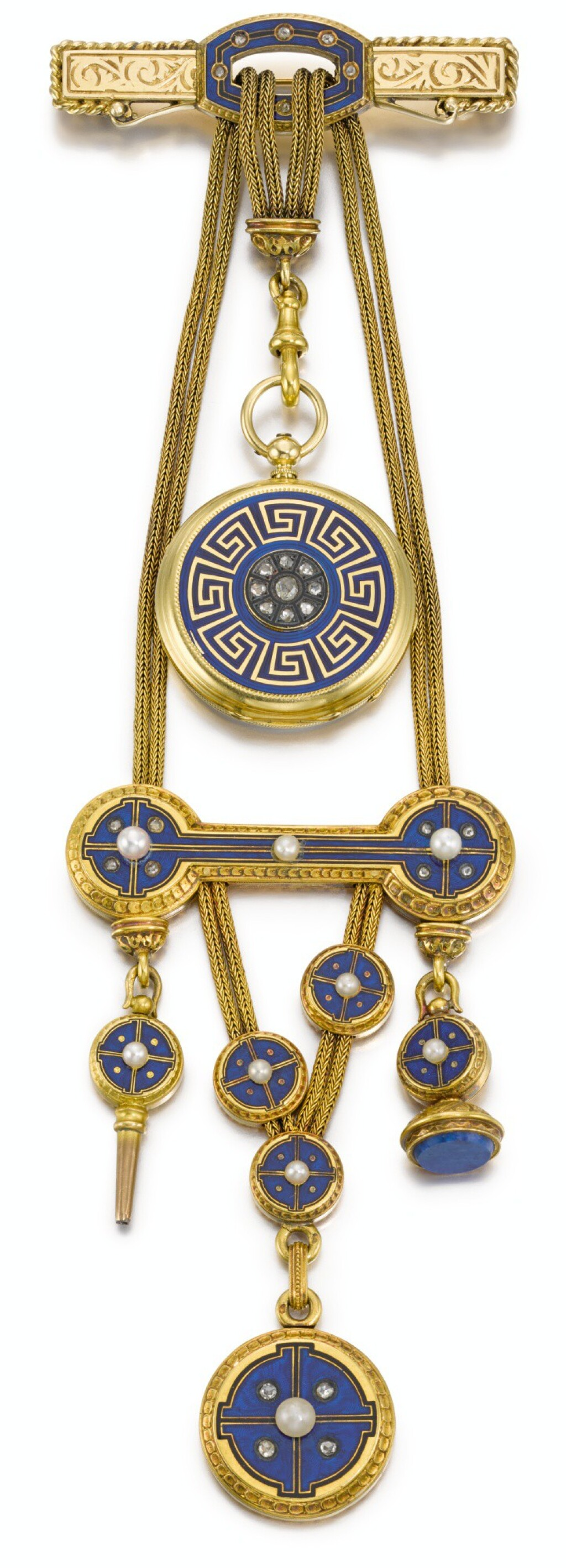 CHARLES OUDIN |  A GOLD, ENAMEL, DIAMOND AND SEED PEARL-SET OPEN-FACED WATCH WITH BAR BROOCH PIN AND CHATELAINE CIRCA 1820