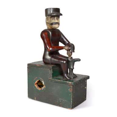 RARE CARVED AND POLYCHROME PAINT-DECORATED MECHANICAL WOOD SCULPTURE OF A COBBLER, CIRCA 1890