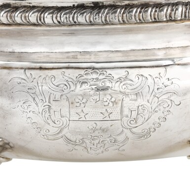 View 2. Thumbnail of Lot 144. A George II silver two-handled soup tureen and cover, William Cripps, London, 1757.