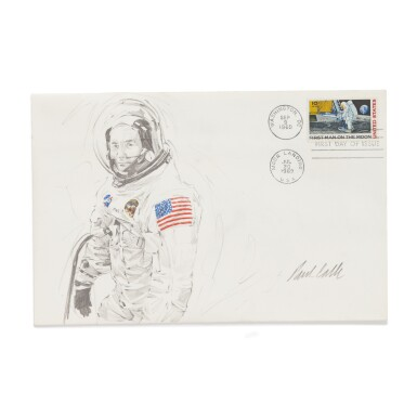 [APOLLO 11]. PAUL CALLE. A GROUP OF 3 APOLLO 11 POSTAL COVERS WITH ORIGINAL MISSION SKETCHES, SIGNED BY CALLE