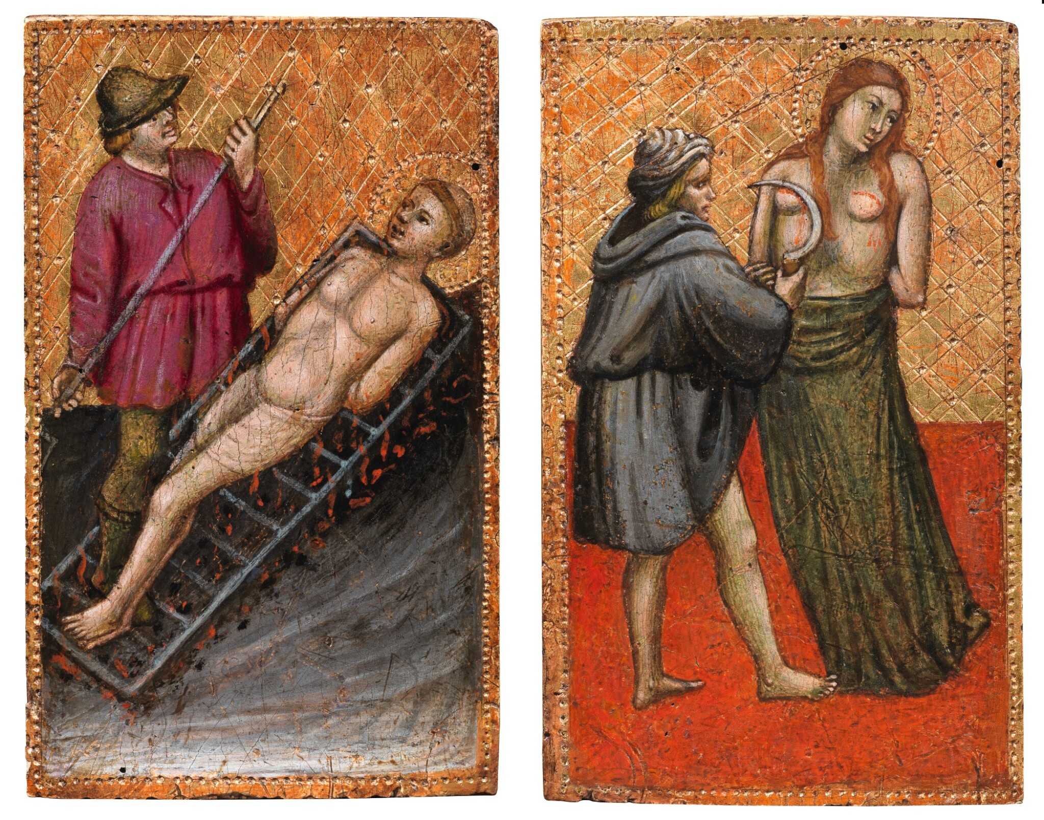 View full screen - View 1 of Lot 130. ORAZIO DI JACOPO  |  MARTYRDOM OF ST. AGATHA; MARTYRDOM OF ST. LAWRENCE.