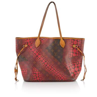 View 2. Thumbnail of Lot 6. Red Monogram Dots Infinity Neverfull MM Tote in Vachetta Leather with Goldtone Hardware, 2012.