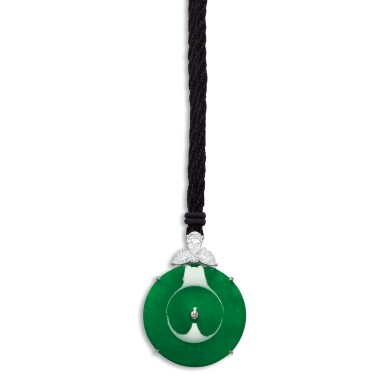 View 1. Thumbnail of Lot 1671. A FINE AND RARE JADEITE, DIAMOND AND SAPPHIRE PENDENT NECKLACE   天然翡翠雕「懷古」 配 鑽石 及 藍寶石 項鏈   .