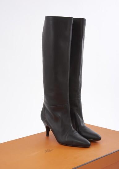 Black leather stiletto heel boots, Hermès