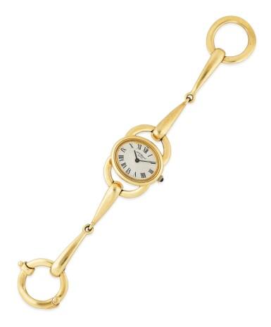 View 1. Thumbnail of Lot 143. Montre bracelet de dame or | Lady's gold bracelet watch.