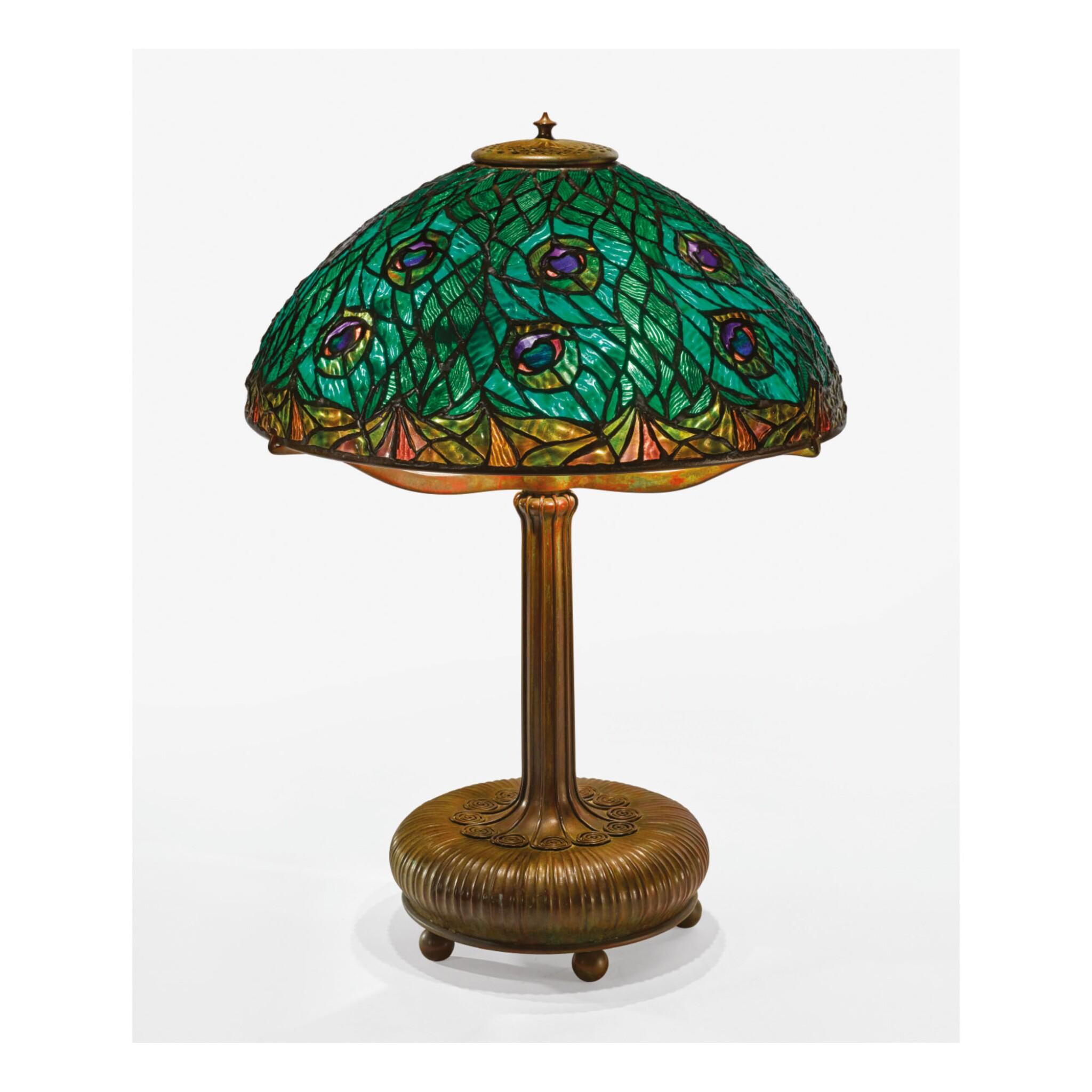 "View 1 of Lot 7. TIFFANY STUDIOS | ""PEACOCK"" TABLE LAMP."