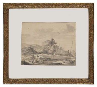 PIETER MOLIJN | TWO MEN AND THREE DOGS IN A DUNE LANDSCAPE, WITH A FARMSTEAD BEHIND