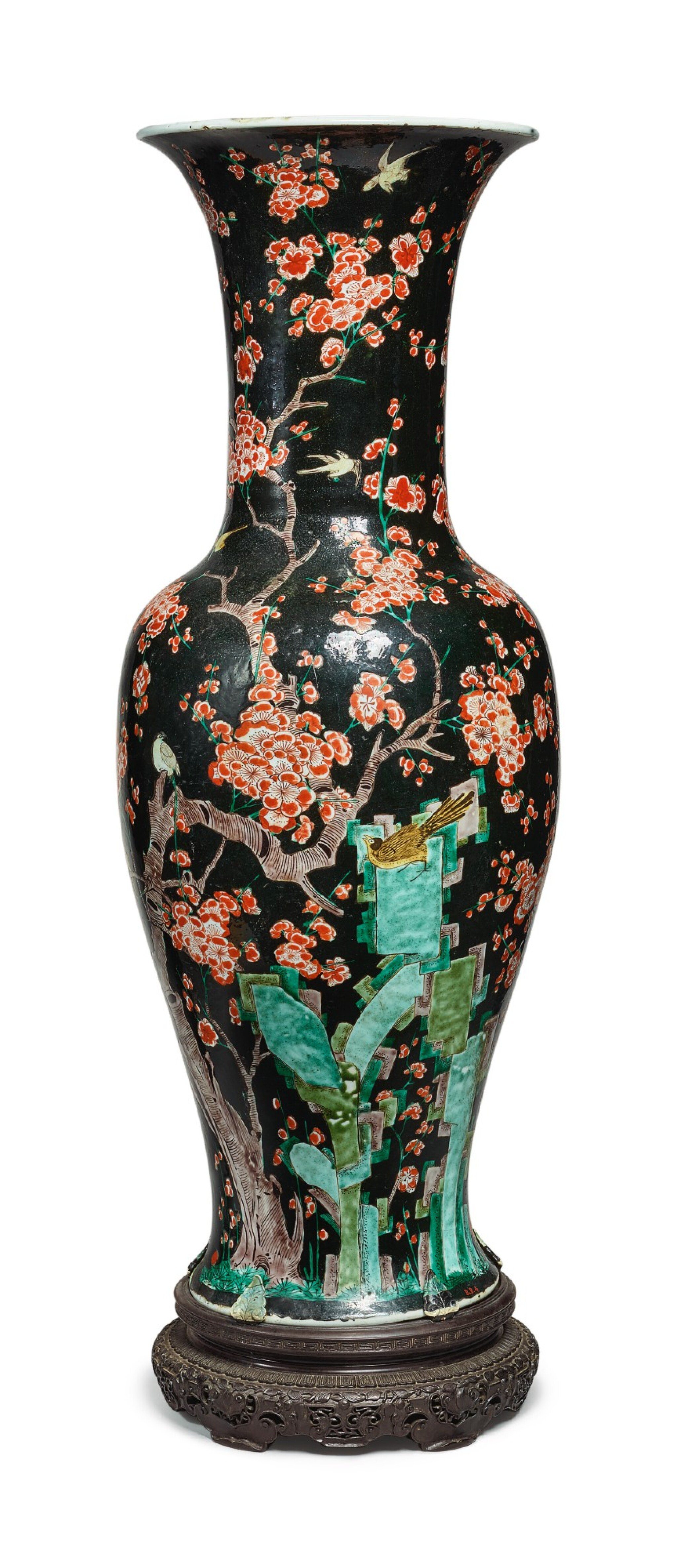 View 1 of Lot 1037. A LARGE FAMILLE-NOIRE 'MAGPIE AND PRUNUS' YENYEN VASE, THE PORCELAIN 18TH CENTURY, THE ENAMELS LATER-ADDED.