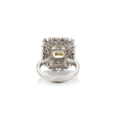 View 3. Thumbnail of Lot 13. YELLOW SAPPHIRE AND DIAMOND RING.