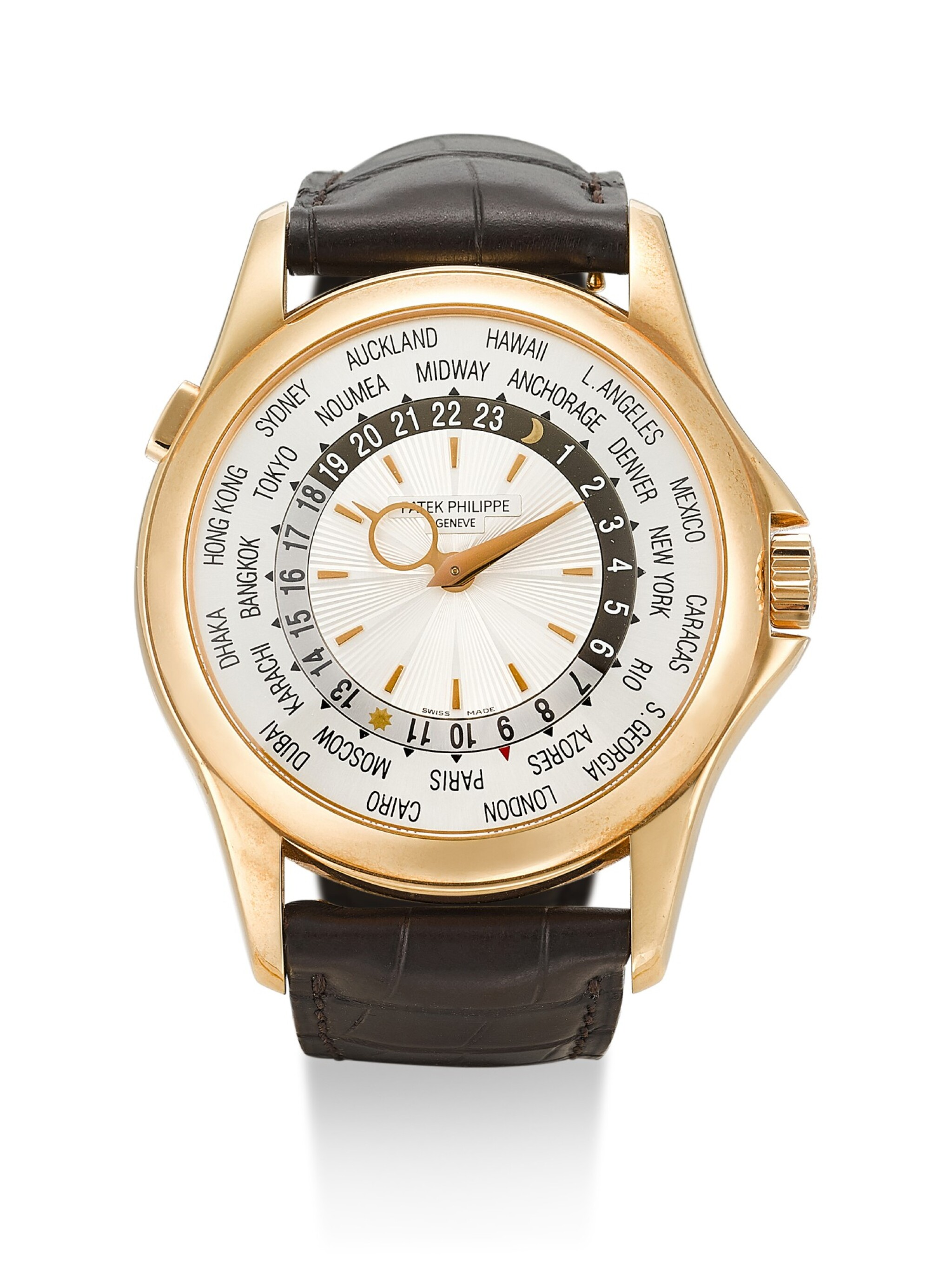View 1 of Lot 32. PATEK PHILIPPE | REFERENCE 5130, A BRAND NEW PINK GOLD WORLD TIME WRISTWATCH, CIRCA 2006.