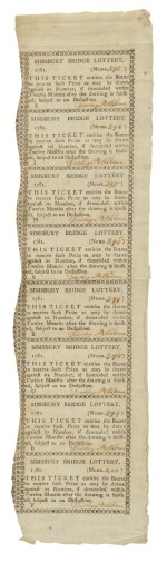 (AMERICAN REVOLUTION)  Simsbury Bridge Lottery Tickets. [Connecticut: 1781]