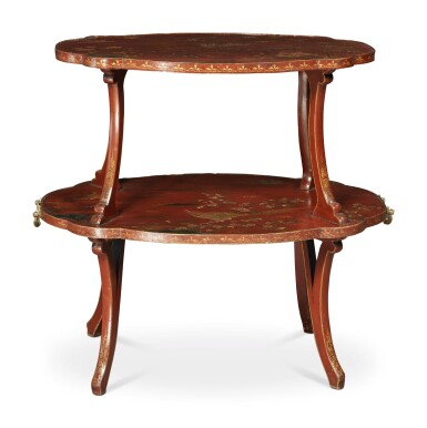 View 2. Thumbnail of Lot 134. AN ENGLISH SCARLET AND GOLD JAPANNED TWO TIER ETAGERE, 20TH CENTURY.