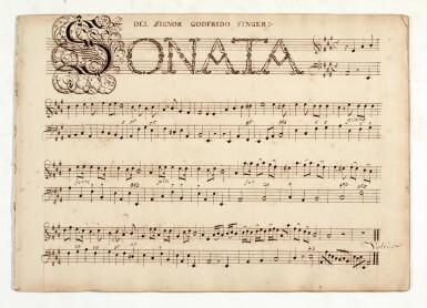 View 4. Thumbnail of Lot 81. H. Purcell. 'The Armstrong-Finch manuscript'. Important early volume of sonatas for violin and for flute, 1691-1720.