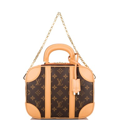 View 3. Thumbnail of Lot 85. LOUIS VUITTON   MONOGRAM VALISETTE MINI LUGGAGE PM IN COATED CANVAS AND VACHETTA LEATHER WITH GOLDEN BRASS HARDWARE.