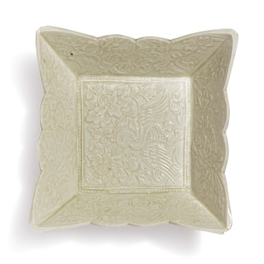 A WHITE-GLAZED MOLDED 'DUCK' SQUARE DISH, LIAO DYNASTY