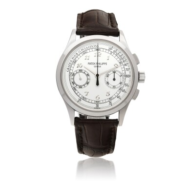 PATEK PHILIPPE | WHITE GOLD CHRONOGRAPH WRISTWATCH WITH PULSATION SCALE CIRCA 2014