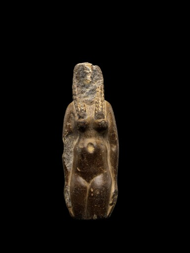 View 1. Thumbnail of Lot 50. An Egyptian Fragmentary Brown Steatite Figure of Hathor, Ptolemaic Period, 305-30 B.C..