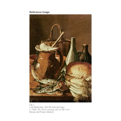View 2. Thumbnail of Lot 33. LUIS MELÉNDEZ | Still life with a plate of apricots, cherries, bread, a wine cooler and receptacles | 路易斯・梅蘭戴斯 | 《靜物:碟子上的杏桃、櫻桃、麵包、冰酒器與器皿》.