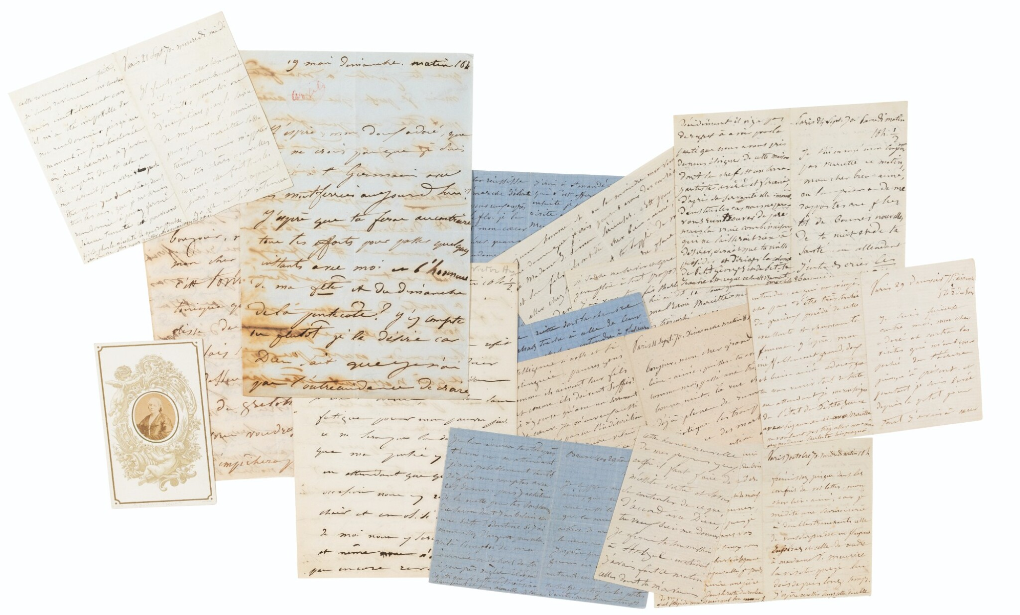 View full screen - View 1 of Lot 113. Bel ensemble de 14 lettres autographes à Victor Hugo. 1848-1871..