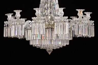 View 2. Thumbnail of Lot 116. An English cut-glass twelve-light chandelier, late 19th/early 20th century, in the manner of Perry & Co.