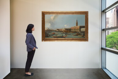 View 4. Thumbnail of Lot 204. Venice, a view of the Palazzo Ducale from the Bacino, with the Bucintoro returning to the Molo on Ascension Day.