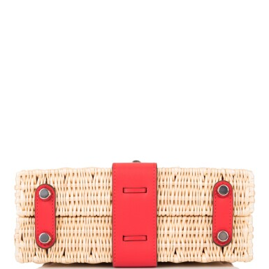 View 6. Thumbnail of Lot 184. Hermès Rare Rouge De Coeur Mini Kelly Picnic Bag of Osier Wicker and Swift Leather.