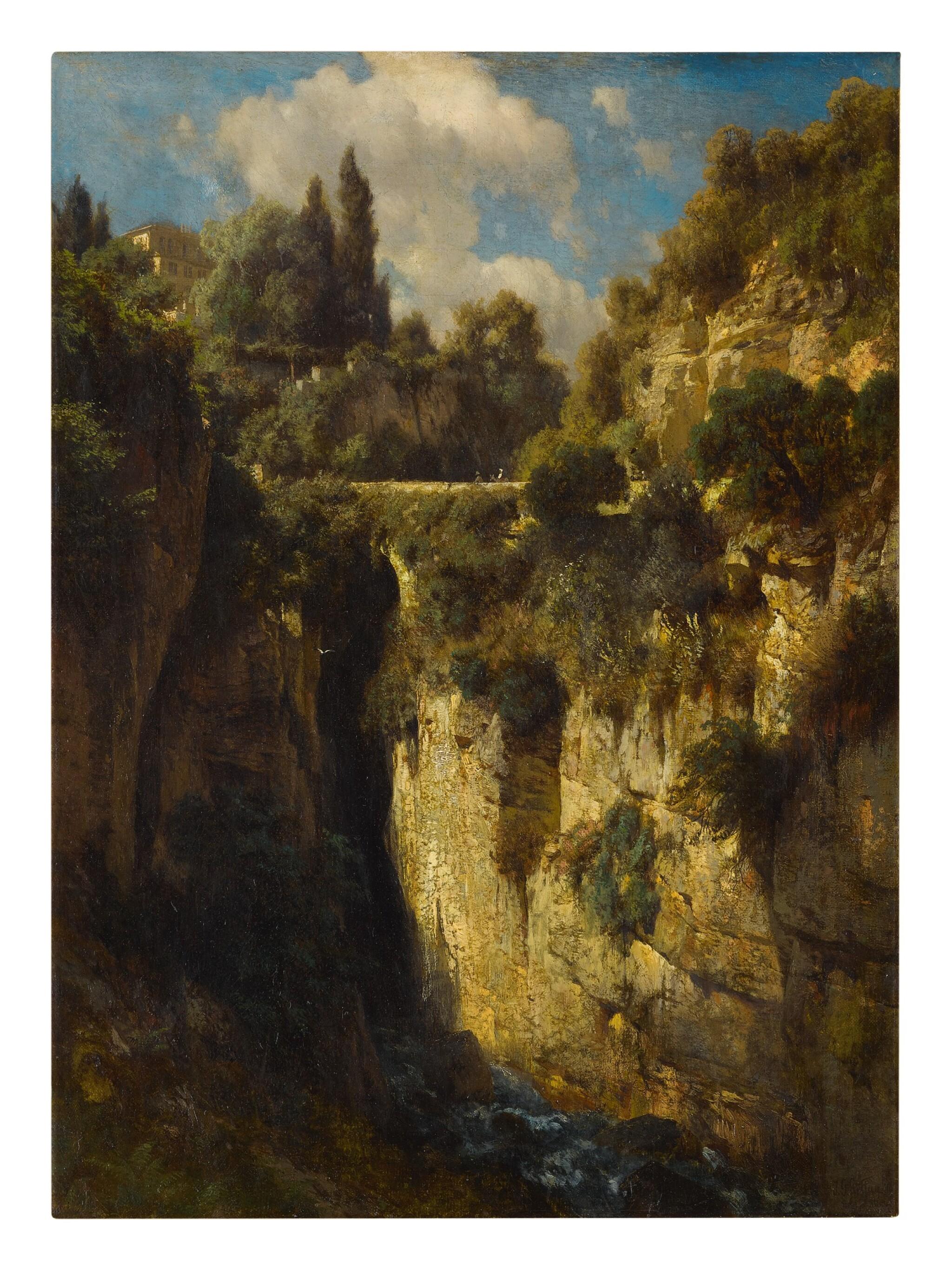 View full screen - View 1 of Lot 621. JOHANN GOTTFRIED STEFFAN   A MOUNTAINOUS LANDSCAPE WITH A WATERFALL.