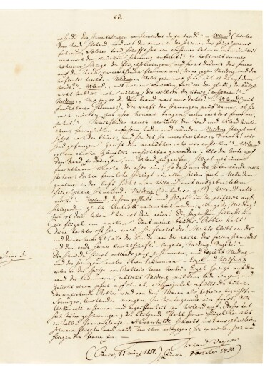 "View 1. Thumbnail of Lot 44. R. Wagner. Autograph manuscript prose draft for ""Wieland der Schmied"", [WWV 82], 1850."