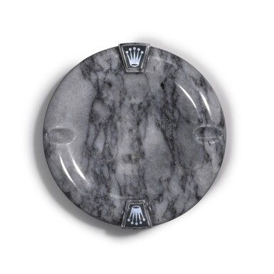 View 2. Thumbnail of Lot 718. REFERENCE RMA 210-G GREY MARBLE ROUND ASHTRAY WITH APPLIED ROLEX CORONET EMBLEMS, BAIZE UNDERSIDE CIRCA 1970.