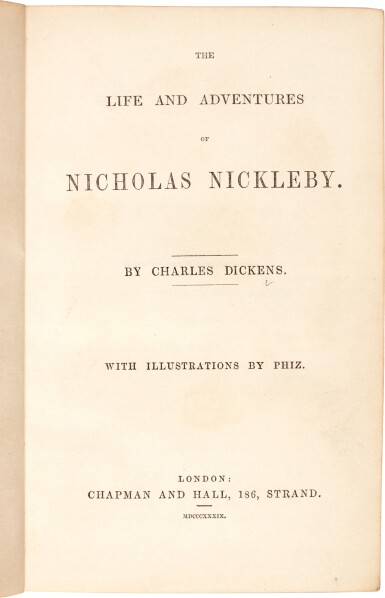 View 1. Thumbnail of Lot 36. Charles Dickens | Nicholas Nickleby, 1839, first edition, presentation copy with letter to Lady Holland.