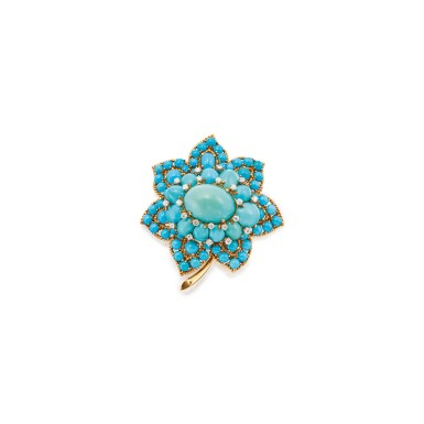 TURQUOISE AND DIAMOND CLIP-BROOCH, VAN CLEEF & ARPELS