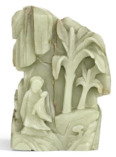 A CELADON JADE BOULDER QING DYNASTY, 18TH CENTURY | 清十八世紀 青白玉麻姑獻壽圖山子