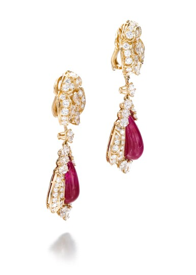 View 2. Thumbnail of Lot 738. Alexandre Reza | Pair of ruby and diamond pendent ear clips | Alexandre Reza | 紅寶石配鑽石耳墜一對.